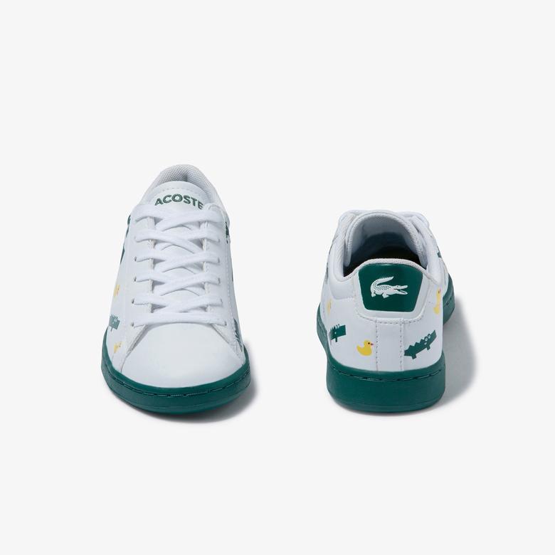 Lacoste Carnaby Evo 120 3 Suc Çocuk Baskılı Beyaz - Yeşil Ayakkabı
