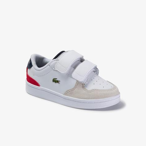 Lacoste Masters Cup 120 2 Sui Çocuk Beyaz - Lacivert - Kırmızı Deri Ayakkabı
