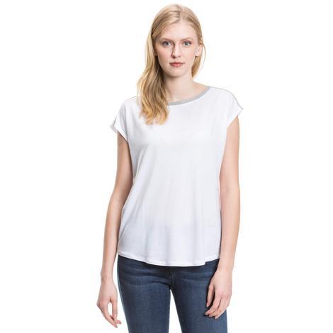 Nautica Kadın Beyaz Kolsuz Kayık Yaka T-Shirt