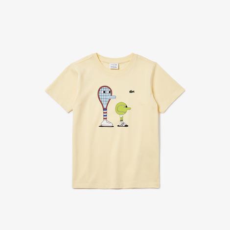 Lacoste X Jeremyville Çocuk Bisiklet Yaka Desenli Açık Sarı T-Shirt