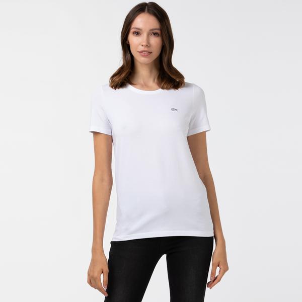 Lacoste Kadın Slim Fit Bisiklet Yaka Beyaz T-Shirt