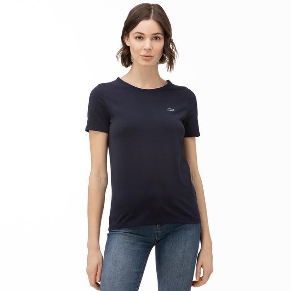 Lacoste Kadın Slim Fit Bisiklet Yaka Lacivert T-Shirt