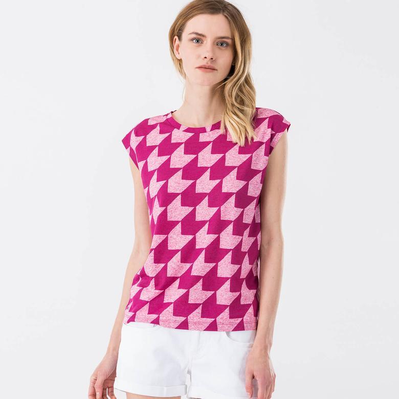 Lacoste Baskılı Kadın Pembe T-Shirt