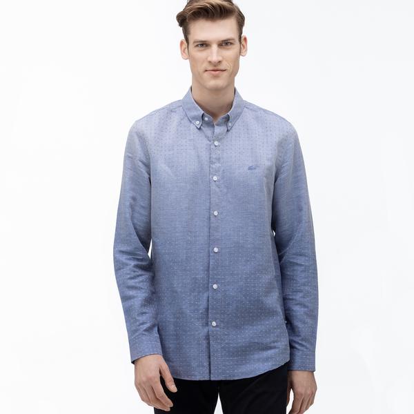 Lacoste Erkek Slim Fit Desenli Degrade Mavi Gömlek