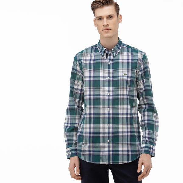 Lacoste Erkek Slim Fit Düğmeli Yaka Ekose Desenli Haki Gömlek