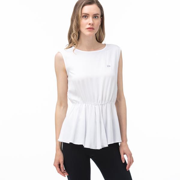 Lacoste Kadın Bisiklet Yaka Kolsuz Beyaz Bluz