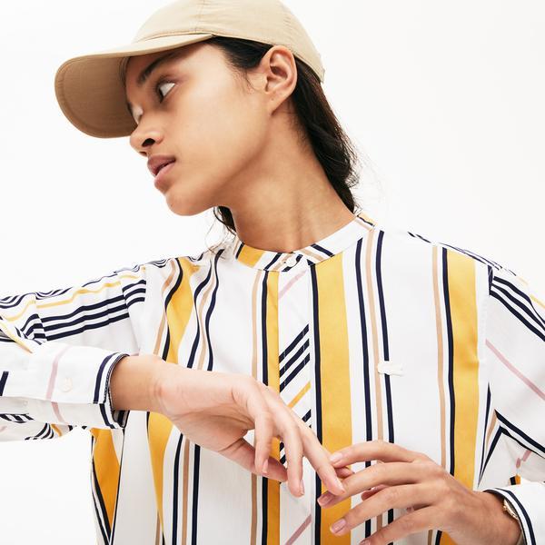 Lacoste Kadın Hakim Yaka Çizgili Renkli Gömlek