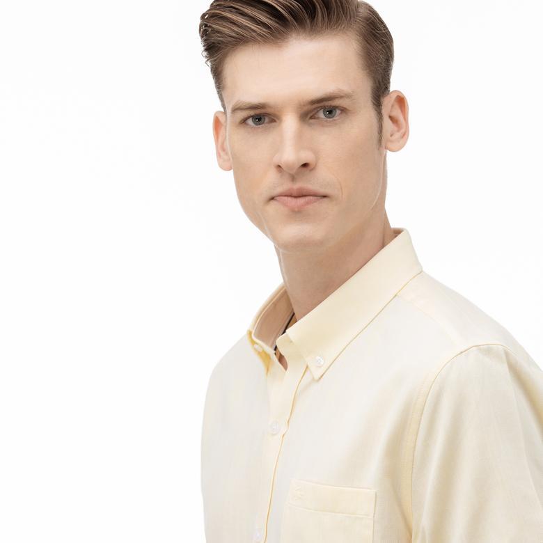 Lacoste Erkek Regular Fit Düğmeli Yaka Kısa Kollu Sarı Gömlek