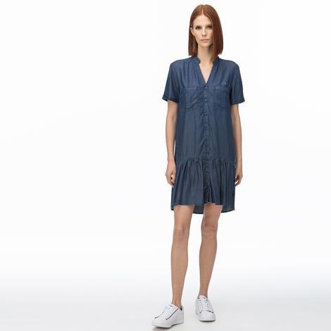 Lacoste Kadın V Yaka Denim Lacivert Elbise