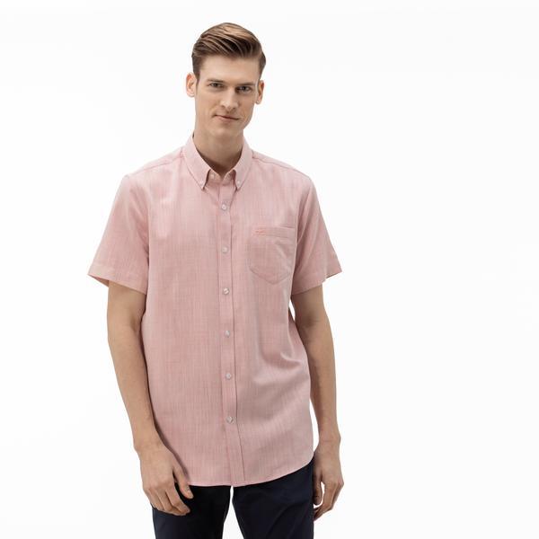 Lacoste Erkek Regular Fit Düğmeli Yaka Kısa Kollu Pembe Gömlek