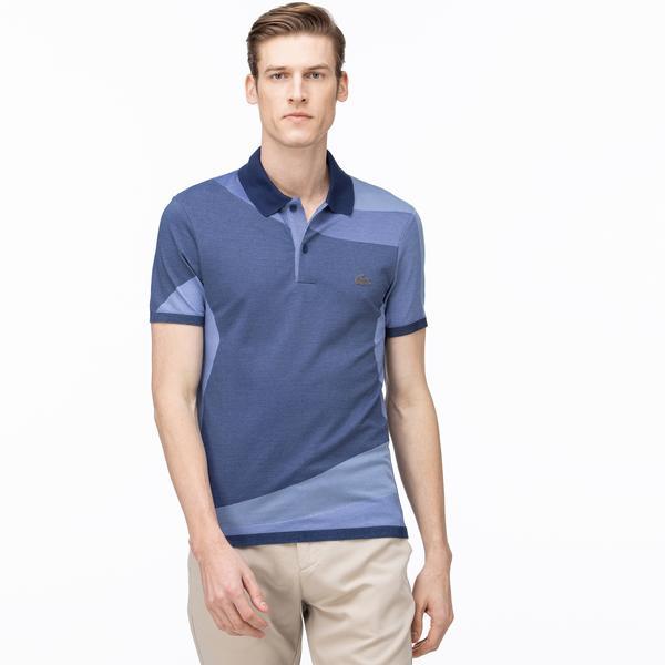 Lacoste Erkek Slim Fit Blok Desenli Mavi Kısa Kollu Polo