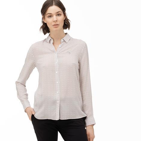 Lacoste Kadın Çizgili Açık Pembe Gömlek