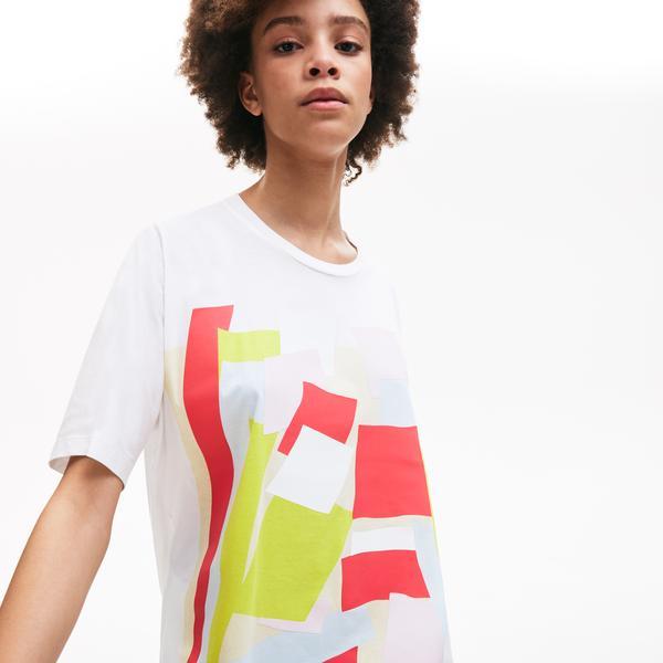 Lacoste Kadın Bisiklet Yaka Desenli Renkli T-Shirt
