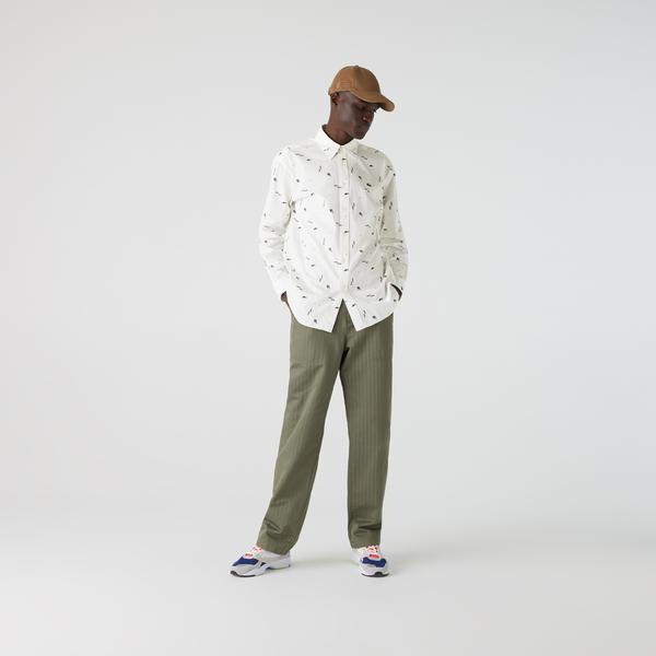 Lacoste L!VE Erkek Slim Fit Baskılı Renkli Gömlek