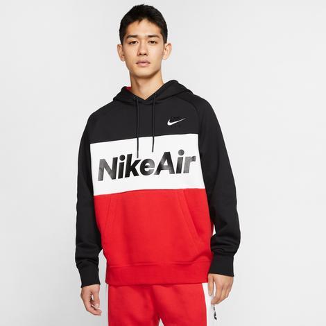Nike Sportswear Air Erkek Siyah-Kırmızı Kapüşonlu Sweatshirt