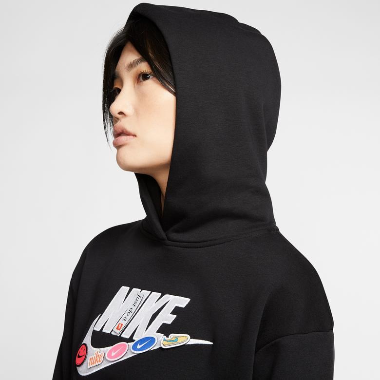 Nike Sportswear Fleece Kadın Siyah Kapüşonlu Sweatshirt