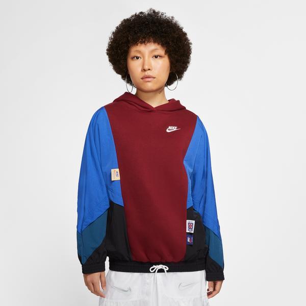 Nike Sportswear Kadın Bordo-Lacivert Kapüşonlu Sweatshirt