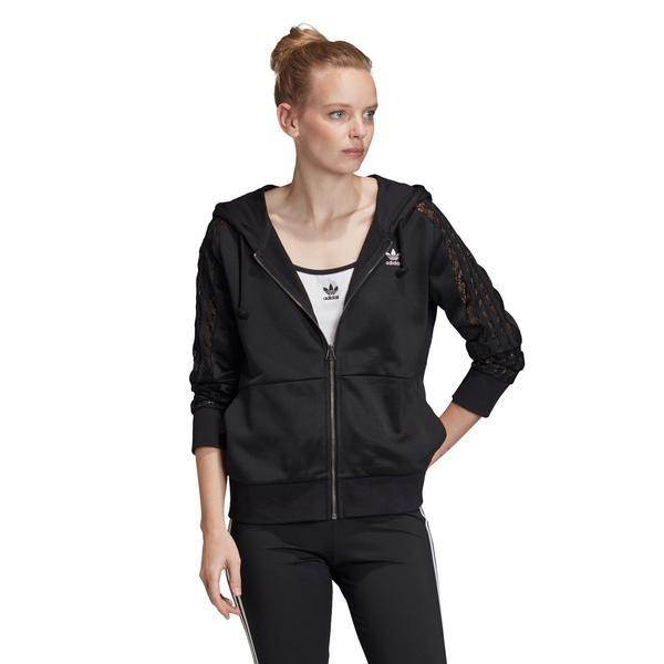 adidas Lace Zip Kadın Siyah Fermuarlı Kapüşonlu Sweatshirt