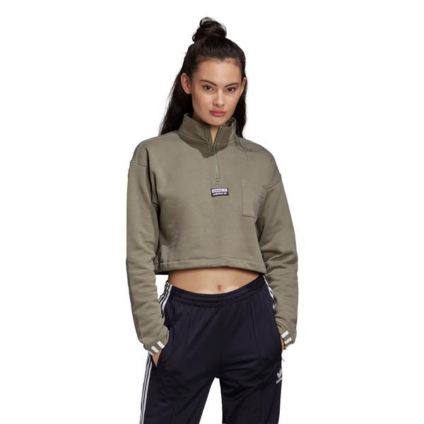 adidas Cropped Kadın Yeşil Sweatshirt