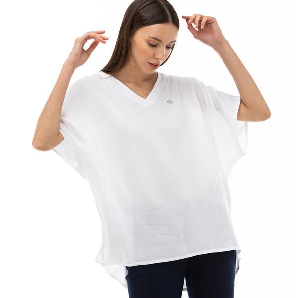 Lacoste Kadın V Yaka Kısa Kollu Beyaz Bluz