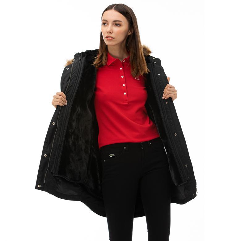 Lacoste Kadın Çift Kullanımlı Kapüşonlu Siyah Mont