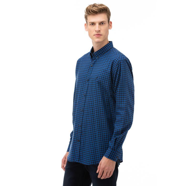 NAUTICA Erkek Mavi Classic Fit Kareli Gömlek