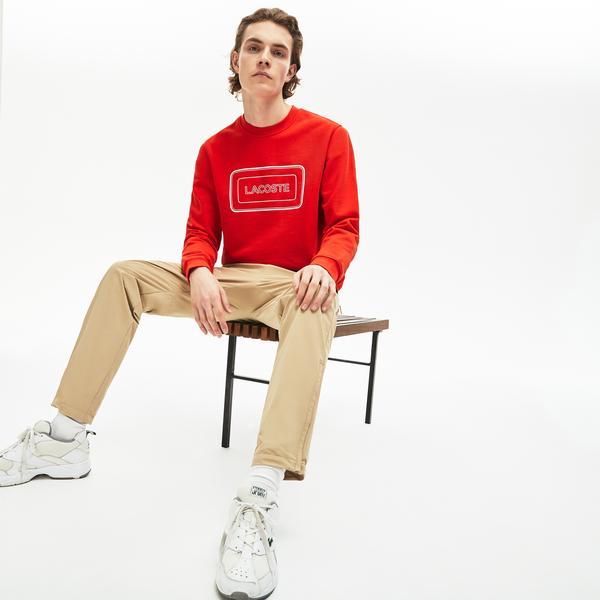 Lacoste Motion Erkek Bisiklet Yaka Baskılı Kırmızı Sweatshirt