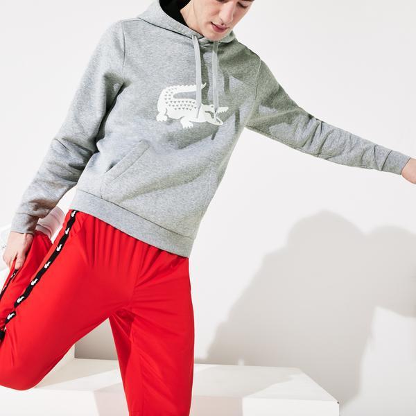 Lacoste Sport Erkek Kapüşonlu Baskılı Gri Sweatshirt