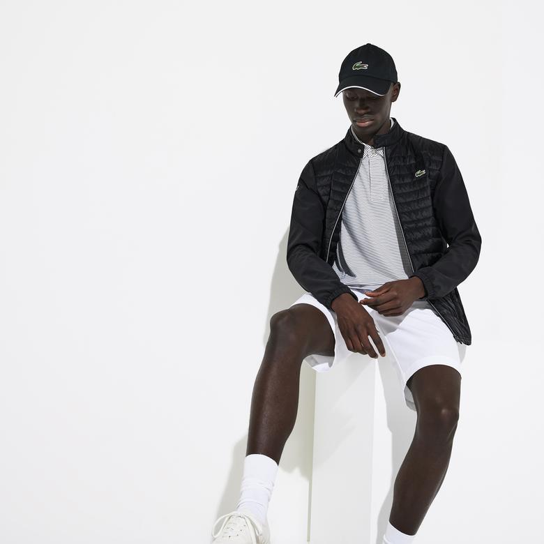 Lacoste Sport Erkek Suya Dayanıklı Dik Yaka Kapitone Siyah Mont