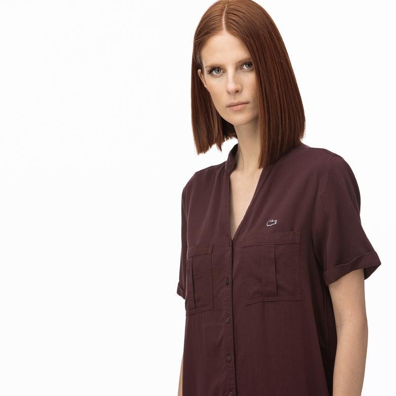 Lacoste Kadın V Yaka Denim Bordo Elbise