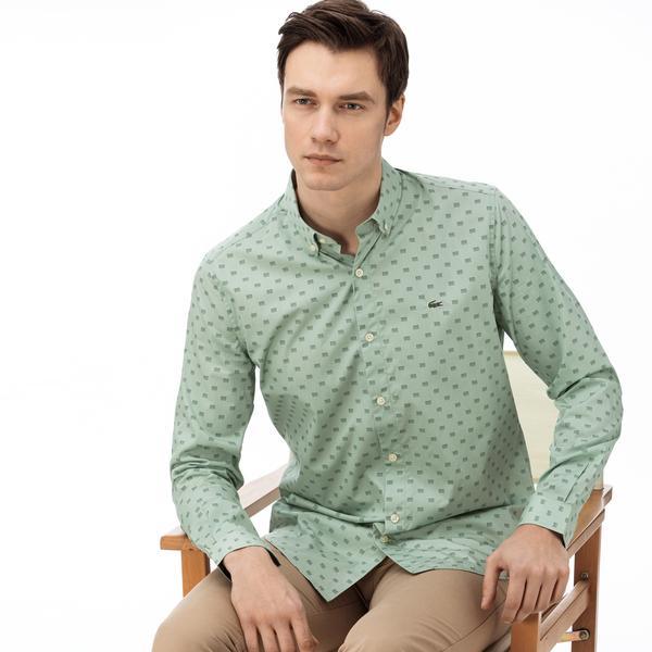 Lacoste Erkek Slim Fit Düğmeli Yaka Desenli Yeşil Gömlek