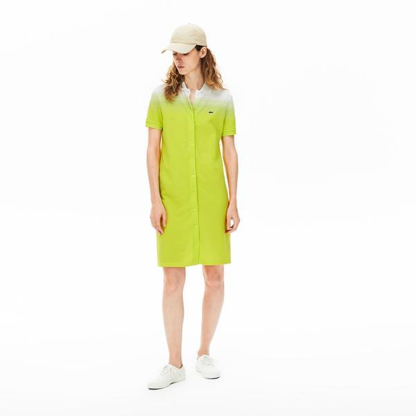 Lacoste Kadın Polo Yaka Sarı - Beyaz Elbise
