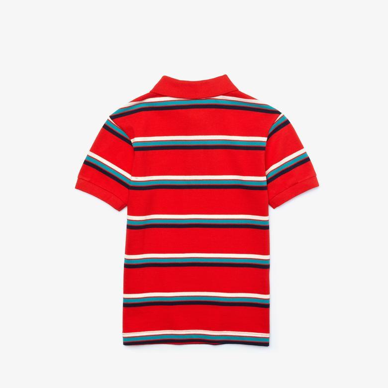 Lacoste Çocuk Çizgili Kırmızı Polo