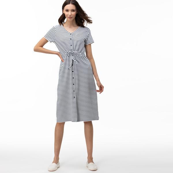 Lacoste Kadın V Yaka Çizgili Kısa Kollu Mavi Elbise