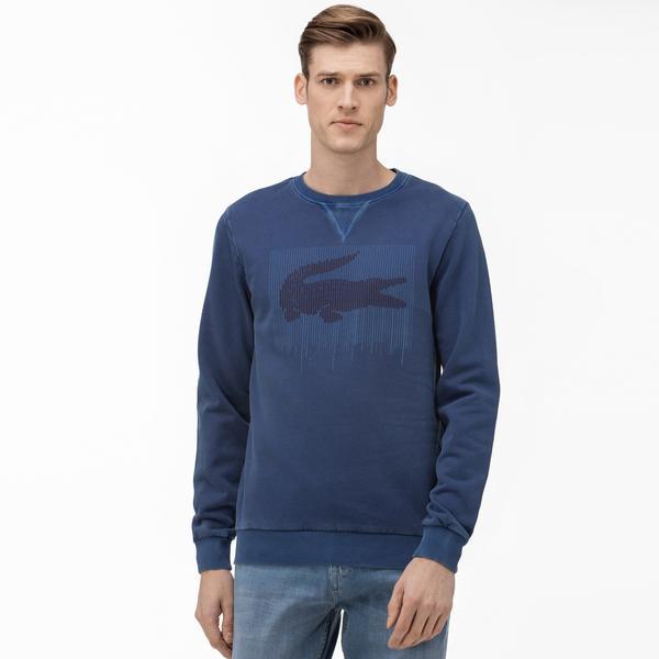 Lacoste Erkek Bisiklet Yaka Baskılı Saks Mavi Sweatshirt