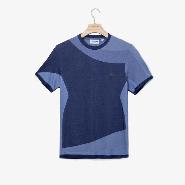 Lacoste Erkek Bisiklet Yaka Blok Desenli Mavi T-Shirt