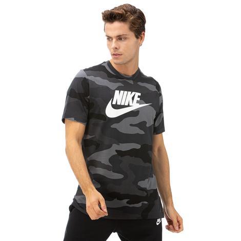 Nike Ss Camo 1 Erkek Gri Kısa Kollu T-Shirt