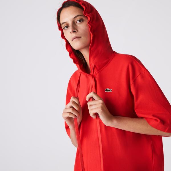 Lacoste Kadın Kapüşonlu Kırmızı T-Shirt