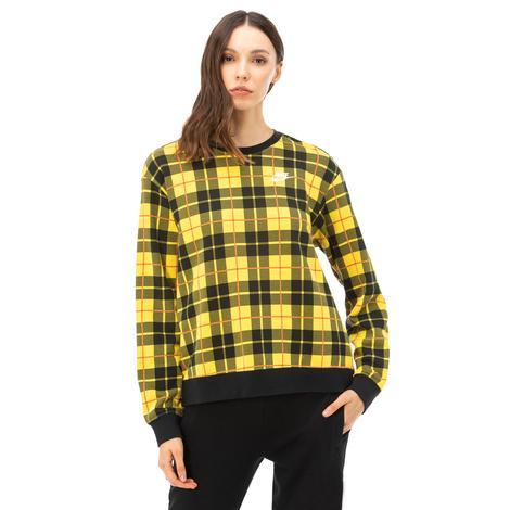 Nike Kadın Uzun Kollu Ekoseli Sarı T-Shir