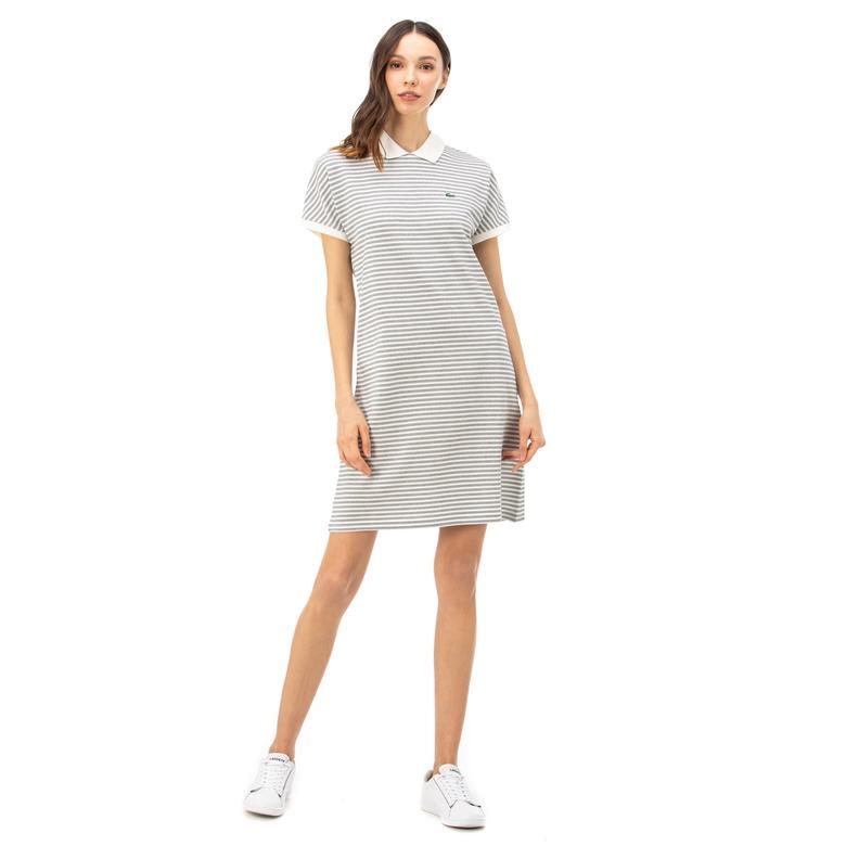 Lacoste Kadın Bebe Yaka Çizgili Kısa Kollu Lacivert - Beyaz Elbise