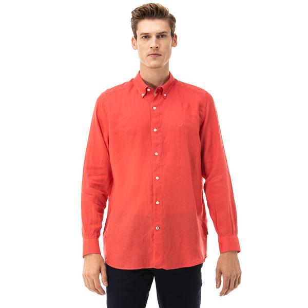 NAUTICA Erkek Klasik Fit Kırmızı Gömlek