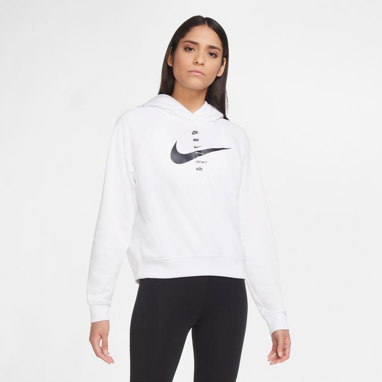 Nike Sportswear Swoosh Kadın Beyaz Sweatshirt
