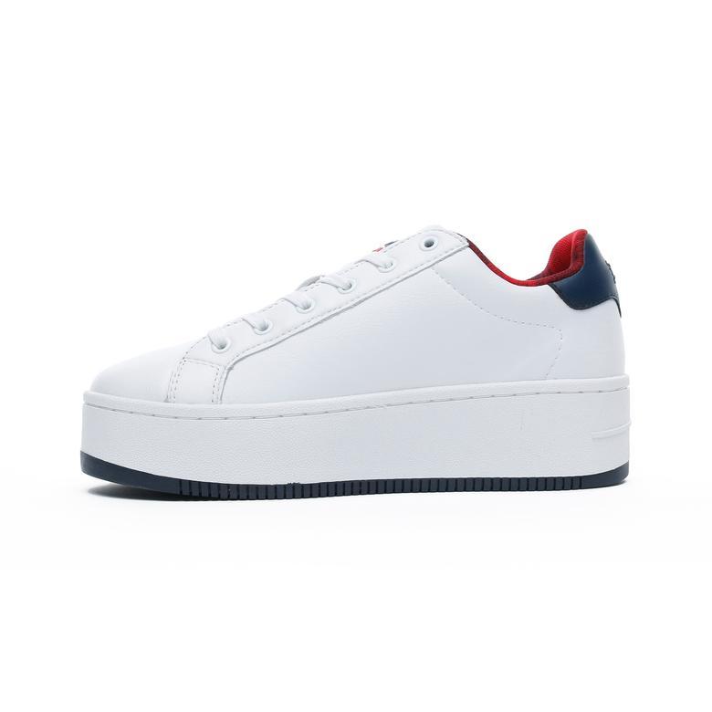 Tommy Hilfiger Iconic Flag Flatform Kadın Beyaz Spor Ayakkabı