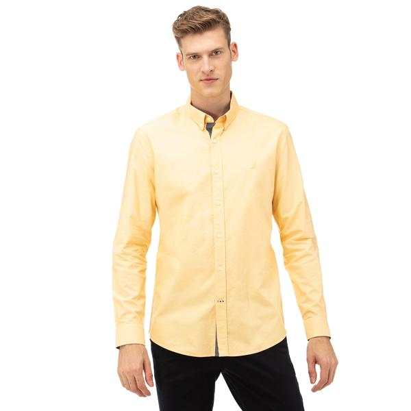 NAUTICA Erkek Sarı Slim Fit Gömlek
