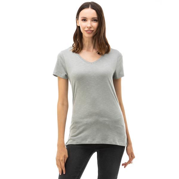 Nautica Kadın Gri V-Yaka T-Shirt
