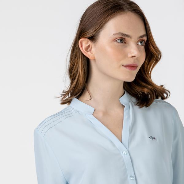 Lacoste Kadın Hakim Yaka Mavi Gömlek