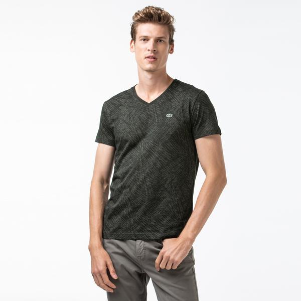 Lacoste Erkek Desenli V Yaka Haki T-Shirt