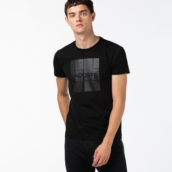 Lacoste Sport Erkek Baskılı Bisiklet Yaka  Siyah T-Shirt