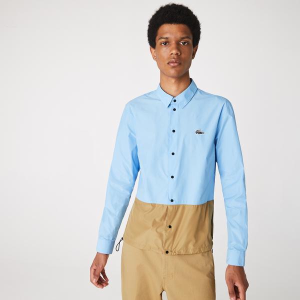 Lacoste Erkek Blok Desenli Baskılı Mavi Gömlek