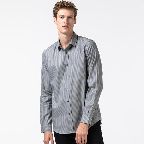 Lacoste Erkek Slim Fit Çizgili Gri Gömlek